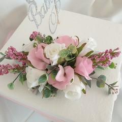 Cake Topper Silk Flower BabyCelebration