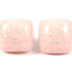 Pink & iridescent white studs - square (samples, seconds & old stock)