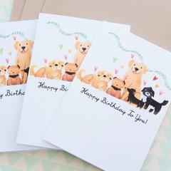 4 Dog Birthday Cards, Dog Lover, Puppy, Pet Illustration