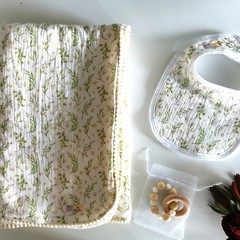 Handmade Soft Baby Blanket, 2 Pack of Bibs & Teether Gift Set in Flower Green