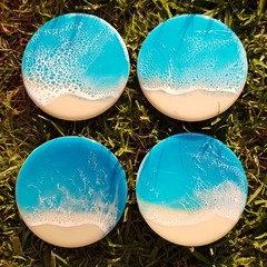 Turquoise Beach Resin Wave Coasters