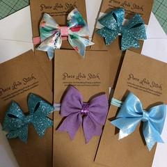 HAIRBOW, thin headbands, various fabrics, velvet bow, vinyl bow, felt bow