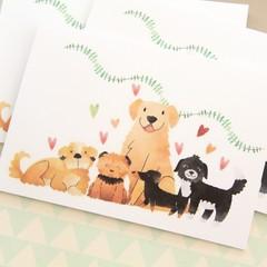 4 Blank Dog Cards, Dog Lover, Puppy, Pet Illustration