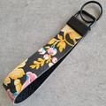 Wristlet Key Fob/ Key Ring/ Key Chain. Genuine Leather,  Floral Print