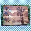 Handburnt Giraffe Cheeseboard with Knives