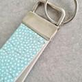 Wristlet Key Fob/ Key Ring/ Key Chain. Cork / Genuine Leather,  Aqua/ White