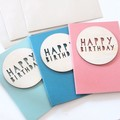3 Birthday Cards, Paper and Wood, Happy Birthday, Card Set