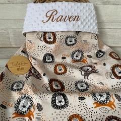Personalised minkie blanket, baby blanket, pram blanket, lion, safari print