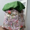 Jumbo reversible cotton drawstring laundry bag, kids toy bag, storage bag