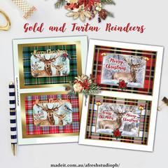 Gold and Tartan Reindeers Card Printables AfreshDesignPB