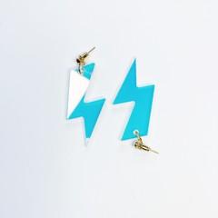 Lightning bolt drop earrings made with translucent rainbow iridescent  acrylic