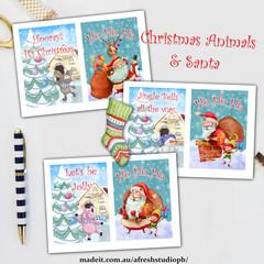 Christmas Animals Santa AfreshDesignPB