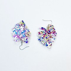 Monstera leaf acrylic hook dangle earrings with opalescent glitter