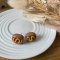 """Hot Dog with Mustard"" Handmade Polymer CLay Stud Earrings"