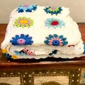 Crochet Throw, READY TO POST, granny square throw, crochet blanket, lap blanket