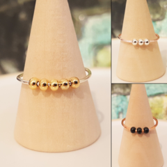 Meditation ring, Worry ring, Metal seed bead anxiety ring