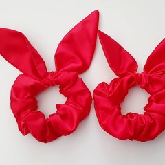 Happy Hair Ties Handmade Satin Scrunchie with Bow