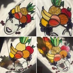 Stained glass Carmen Miranda Portrait