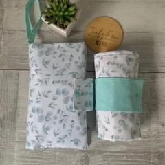 Waterproof change mat & nappy wallet, eucalyptus, llama, fabric choices