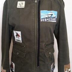 Upcycled Jacket Moss Green Retro motor bike styled material and trim Size 10