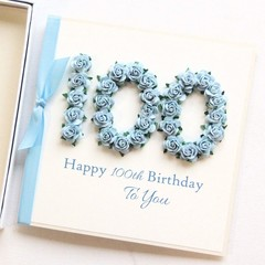 100th Personalised Birthday Card, Handmade 100th+, 101st 102nd 103rd 104th 105th
