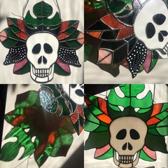 Stained glass Jungle Jim skull and leaves