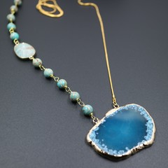 Agate Slice Pendant Necklace with Turquoise Blue Imperial Jasper Beaded Links