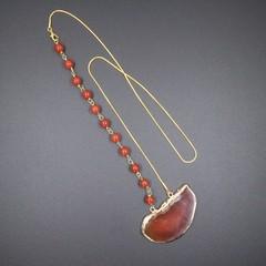 Agate Slice Pendant Necklace with Carnelian Beaded Links