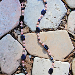 Blue Goldstone & Pink Coral Necklace