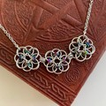 Chainmaille Flower Pendant in Black Rainbow and Silver