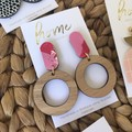 Recycled Red Pink White Open Timber Circle Dangles   Eco