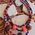 Colourful Multi Strand Wood Bead Necklace