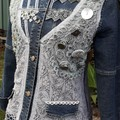 Upcycled Denim Jacket Rustic Lace & Buttons  Retro styling Size 12-14