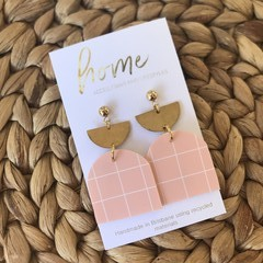 Recycled Pale Pink Brass Gold Ball Stud Dangles