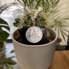 Australian 1966 Round 50 cent 925 Silver 10mm Beaded Bracelet