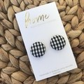 Recycled Black White Gingham Print Stud Earrings | Mother's Day |