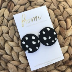Recycled Black White Spot Dotty Stud Earrings | Mother's Day |