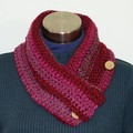 Crochet cowl / Neck warmer / scarf with wooden buttons - FREE SHIPPING
