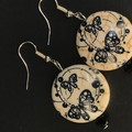 Antique style Butterfly themed beaded earrings