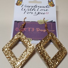 Gold Dimond Shaped Wood Earrings