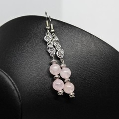 Rose Quartz Chainmaille Earrings