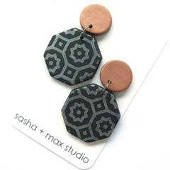 Winter metallics Statement Earrings - octagon Moroccan