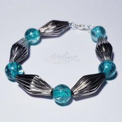 Light Blue/Metal Beaded Bracelet