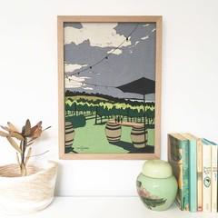 Red Hill Vineyard Linen Print