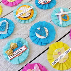Crepe Paper Embellishments - Pinks, Blues and Yellows