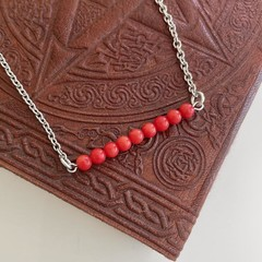 Coral Bead Bar Necklace