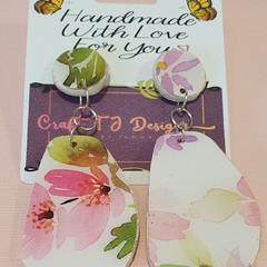 Flower Print Wood Earrings