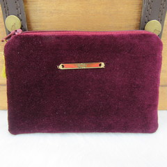 Coin and Card Purse - Women's Ladies - Burgundy Velveteen w/ gold charm