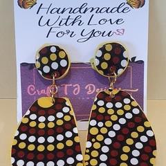 Aboriginal Print Wood Earrings