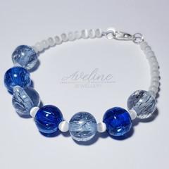 Dark Blue/White Beaded Bracelet